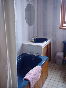 Bathroom with shower above the bath