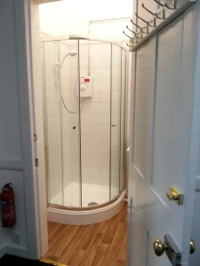 Shower room with basin